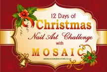 12 Days of Christmas Nail Art Challenge with Susan / In the lead up to the festive season, nail brand Mosaic will be running a Christmas Nail Art Challenge. Each day, from 1-12 December betweem 8.00 am and 8.00pm, we will post a festive fingernail design on the www.susansnailstore.co.uk website and nail artists will be encouraged to be inspired by the design before focusing on their own work.  What's more, selected products used within each day's design will be offered at discount cost for that day only!