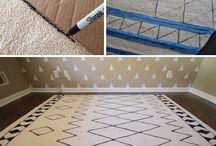 Rugs + Flooring / carpet, floors, diy rug hacks, hardwood floors, diy floors, rug, painted floor, paint vinyl floor, stencil floor, grout, painted rug, diyvinyl floor, plank flooring