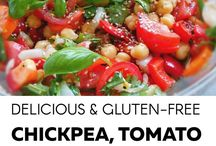 Chickpeas and tomato and basil