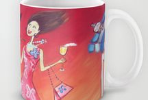 arty cups / my art on cups, for sale