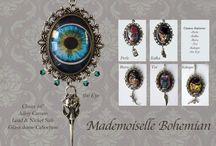 Mademoiselle Bohemian Cameos / Cameos steampunk, bohemian, hand made