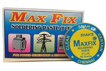 MAX FIX SOLDERING PASTE (FLUX)  (Cleanmaxindia.com) / MAX FIX SOLDERING PASTE (FLUX)  9092033180  For use in Engineering colleges, professional service centers and other allied industries (Electrical and Electronic) towards soldering to get 100% bright bond.  Company Name :       SHAH INDUSTRIES Website      :         http://www.cleanmaxindia.com/           Mail ID      :        cleanmaxindia@gmail.com