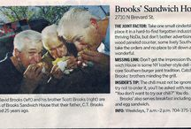 BROOKS Sandwich House burgers & dogs / Twins David & Scott Brooks have been running their hamburger & hot dog joint since 1973! Named Charlotte's Best Burger in 2011 by The Charlotte Observer!   March 2013 we were featured on Travel Channel BURGERLAND with host George Motz.  Everyone is welcome at BROOKS.  Come enjoy the best southern burger with homemade chili recipe created almost 41 years ago. Purchase BROOKS Chili so you can enjoy the same homemade southern taste at home. Hope to see YOU soon! on fb 2710 N Brevard St, Charlotte