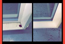 What VinylDoc can do / Before and after vinyl window and door frames have been fixed by VinylDoc products.