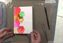 Medium:Art Tissue on Cards / Handmade cards featuring color from wet art tissue.