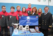 "Alexey Chegurov and team of yacht ""Akela"" / Captain Alexey Chegurov is Master of Sport, International Class in sailing. Under his guidance, the yacht ""Akela"" has repeatedly won national and international regattas, including the largest international student regatta ""The Tall Ship Race"". Alexey Chegurov and team of yacht ""Akela"" are the members of Red Fox team."