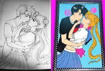 Sailor Moon ( ay savaşçısı ) cross stitch etamin işleme pano