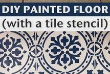 Stenciled flooring and walls / Stenciled floors, tile, walls | stenciled patterns | stenciled looks on stair risers, backsplashes floors and walls