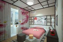 Спальня с элементами японского стиля / hti-design.ru/portfolio/projects/spalnya-v-yaponskom-stile.html