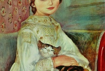 enfant et chat / Peintures et illustrations d'enfants avec chats