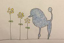 Poodle doodling / My paintings/drawings of belowed friends, poodles.