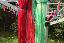 Meine selbstgefärbte Wolle / Hier stelle ich meine Wollstränge ein, die ich mit Säurefarben selbst gefärbt habe.