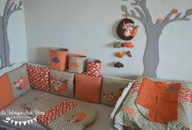 Linge lit bébé renard nuages orange crème beige chocolat
