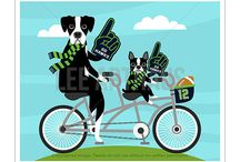 Lee ArtHaus Seattle Seahawks Football Dog Prints / Seattle Seahawks Dog Prints