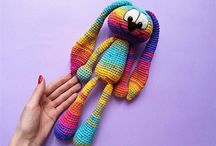 Crochet amigurumi bunny rabbit hear