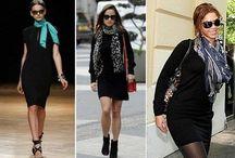 Черное платье с шарфом
