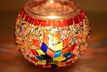 Velas / Velas mosaico con vitral hecho a mano