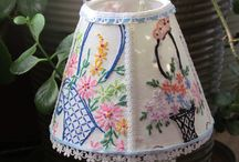 Vintage linen lampshades
