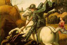 Caballeros y dragones, símbolos de la gran batalla del Mundo.