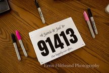 Wedding Bibs / If you and your SO are avid runners, wedding bibs can be a fun and creative way to let your guests know to Save the Date or to direct them to their seat on the Big Day. Or go all out and host a wedding day run with custom bibs from BibNumbers.com!