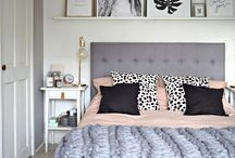 bedroom gray headboard