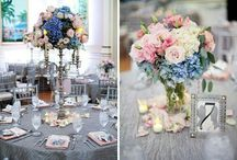 Pastel Pinks and Blue Centerpieces and Bouquets
