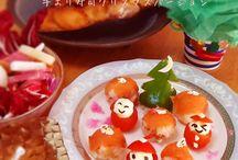 和&雪をテーマにしたクリスマスパーティの食事