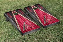 "MLB | Home Run! | Victory Tailgate / Victory Tailgate is an officially licensed MLB baseball cornhole game manufacturer and are made proudly in the USA. Each game set comes with two 24""x48"" regulation boards with folding legs, a complete bag set (8 bags), and a FREE string pack to carry the bags."