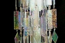 Hanging glass garden chimes