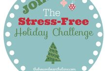 The Stress-Free Holiday Challenge / The Stress-Free Holiday Challenge is a series of emails, blog posts, and challenges to help us prepare early for the holidays, so that we can stress less and enJOY more! It also includes a FREE 30-page planner! #SFHC2015 #holidayprep #organization