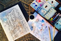 drawing Barcelona Back Stage / watercolors of Barcelona by the catalan graphic designer and illustrator Daniel Pagans