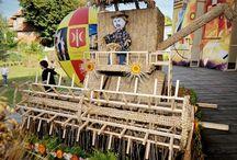 dekor ze słomianych balotów
