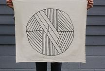 tea towels + scarves / Textiles: tea towels + scarves. Screenprinted, hand dyed, commercially printed. Surface design.