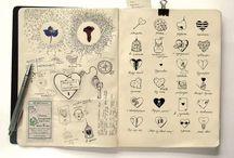 Journal inspirations / Art journals, sketchbooks, notebooks, Moleskine art - lots of journaling inspiration!