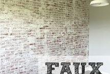 Faux brick walls