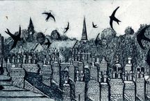Janis Goodman / Artist's statement: I am a printmaker and have been working professionally for over fifteen years creating etchings and aquatints, which reflect both my architectural training and my love of both the inner city and familiar parts of the countryside - places where I walk or visit friends.