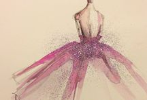 Fashion sketches / Fashion sketches in watercolor and guache form