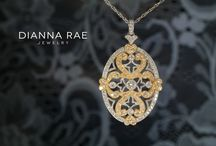 Vintage Inspired Diamond Pendants / These gold and diamond pendants were vintage inspired.  Delicate scrolls, detailed milgrain and pave diamonds give us a peak into a different era and style.