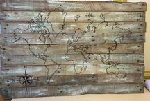 World map  old pallet / Create your own world map on a old pallet