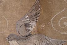 SAC / peinture sur tissus, oiseau, bird