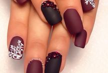 Burgundy and white nail art