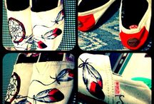 Handmade art shoes / Just enjoyed my dreamcatcher on my shoes, so wherever i go the nightmare is nothing ! :)