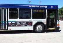 Raiders ride The Belle Urban System / Racine Raiders billboard-style ads on the side of public buses in Racine.