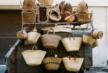 baskets, hats, feathers