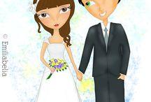 Casamento / Ilustrações para casamento/noivado/história do casal