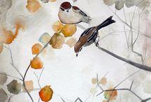 Pinturas árboles y pájaros