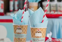 Ice Cream Parlour Birthday Party / Scoop up some old time fun with our exclusive Ice Cream Parlour Party Supplies and make your celebration absolutely delish! This sweet theme combines the stripes you remember from old fashioned ice cream shoppes with images of ice cream cones, sundaes, and popsicles. You can even customize invitations, plates, cups, banners, candy tubes and more! Throw an Ice Cream Party that will have your guests begging for more - because everybody loves ice cream!