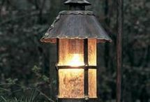 Wrought iron & old coach lanterns