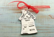Christmas Ornaments / Custom, handstamped Christmas Ornaments great for a wedding gift or even a baby shower gift!