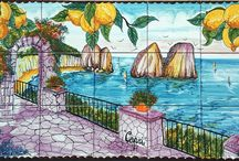 Capri Decor / The beautiful scenery of the ocean and the famous Rocks of Capri (Faraglioni) from August gardens has been hand painted into one collage on ceramic tiles that will make your home more unique.